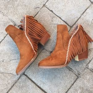 Adorable MIA Embroidered Suede Fringe Booties